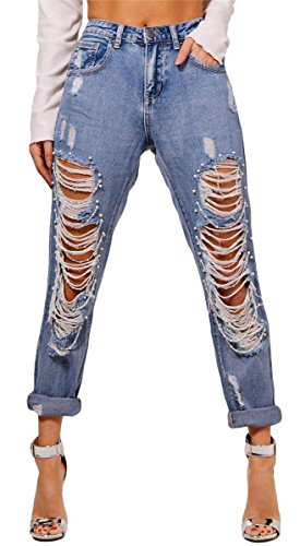 Qikaka Woemns Sexy Ripped Washed Destroyed Distressed Perlen Kette Bodycon Denim Casual Hosen Hosen Jeans