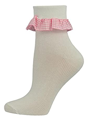 3 Pairs of Girls Gingham Frill White Cotton Ankle Socks. (9-12, Pink) UK Made