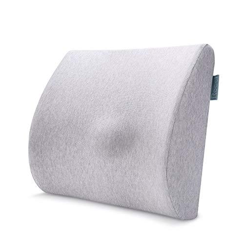 Recci Memory Foam Rückenkissen - Ergonomisches Lendenkissen, Lordosenstütze, Lordosekissen Für Auto, Büro, Zuhause, Couch, Grau, Orthopädisches Rücken-Kissen, Rückenstütze
