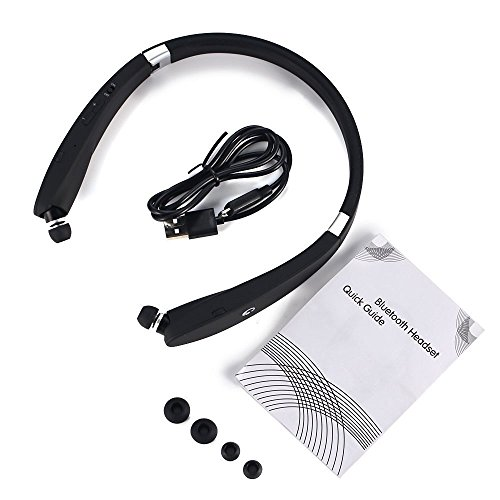 GRDE® Neckband Wireless Bluetooth 4.1 Headphones with Retractable Earbuds, Foldable Headset Noise Cancelling Earphones with Microphone for iPhone, Samsung, HTC, Huawei, Nokia (black)