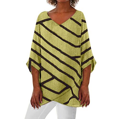 Tops Damen Sommer Kurzarm Tunika O-Neck Oberteile Elegant Blusen Hemden Asymmetrie T-Shirt Casual Loose