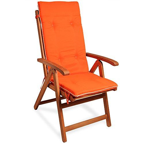 Detex® Stuhlauflage Vanamo | 6er Set Wasserabweisend | Hochlehner Auflage Sitzauflage Stuhlkissen Polsterauflage Orange