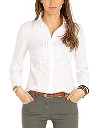 Bestyledberlin Damen Blusen, Leicht taillierte Stretch Basic Damenbluse, Elegante Hemden langarm t38z