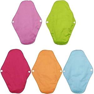 AIYoo Reusable Sanitary Pads 5 Pcs 25cm Washable Bamboo Cloth Menstrual Sanitary Pads Panty Liners for Women Daily Use Sanitary Towel Cloth Enstrual Pads Sanitary Napkin