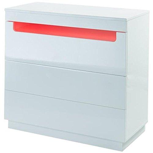 BOREAL Commode de chambre avec LED style contemporain laquee blanc brillant - L 80 cm