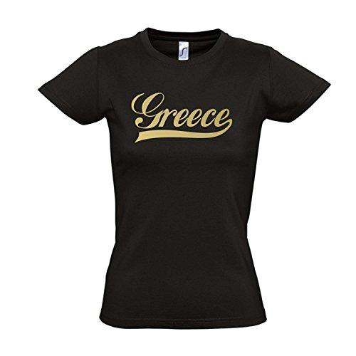 Damen T-Shirt - Griechenland Oldschool Greece LÄNDERSHIRT EM / WM FAN Trikot S-XXL , Deep black - gold , L