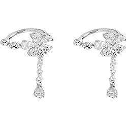 XINSU-earrings Earless Green Daisy Flower Flash Taladro Borla Drop Ear Clip