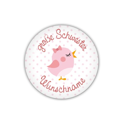 Preisvergleich Produktbild lijelove Buttons, 04-016N, große Schwester & Wunschname, rosa, 38 mm