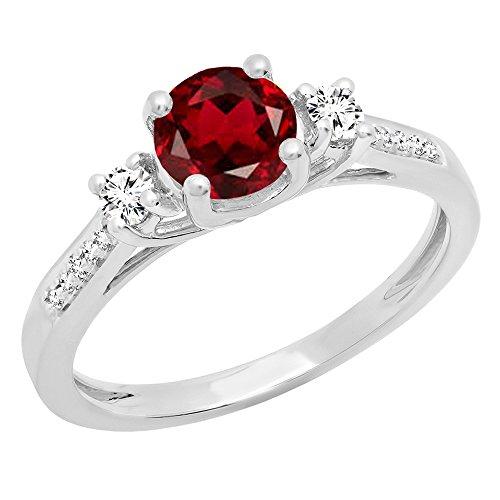 14Karat Weiss Gold, Peridot, Rund, 6mm, Saphir- und Diamant-Ring, Größe - 9 Diamant-ring-größe