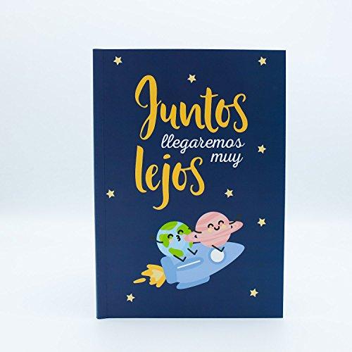 """Libreta """"Juntos llegaremos muy lejos"""" con portada ilustrada marca Edicards. Tapas e interior fabricados con materiales de gran calidad. Tamaño 21x15 cm (A5)."""