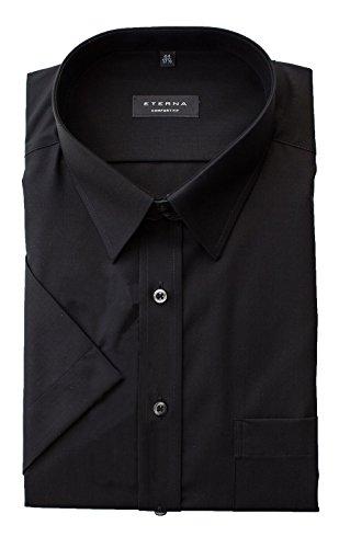 Preisvergleich Produktbild ETERNA Kurzarm Hemd COMFORT FIT Popeline unifarben- Gr. 47,  Schwarz
