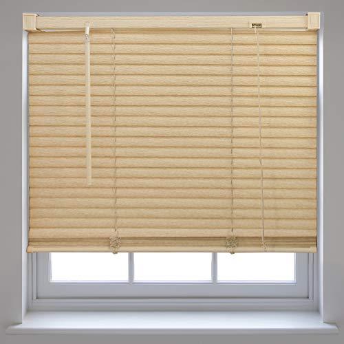 Tenda alla veneziana per finestra, in pvc effetto legno, regolabile, per casa o ufficio, natural, 75cm x 210cm