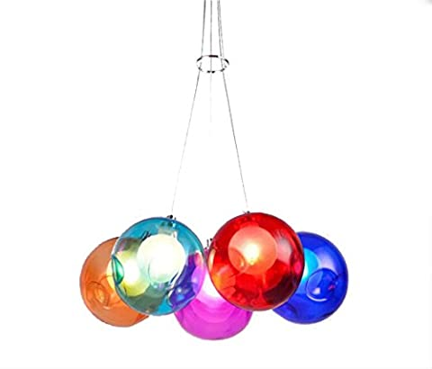 Pendant lamp pendant light coloured Bubble Ball Ornaments Glass Dining Room Lamp for Dining Bar Spot Lights Glass Dining Room Pendent Light Coloured Bulb Multi-Color Glass Ball Height Adjustable 120cm Modern 5