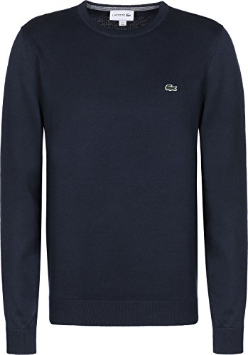 Lacoste AH7004 Klassischer Herren Pullover, Pulli, Strickpullover, Rundhals, 100% Baumwolle Navy Blue 166