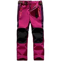 "SiDiOU Group Deporte al aire libre Pantalones de Trekking Niño Pantalones de Montaña Softshell Pantalones Impermeable Pantalones Senderismo Niña Pantalones de Escalada Chicas Pantalones Forro Polar (XS 21""(cintura: 54cm-68cm), Rosa roja)"