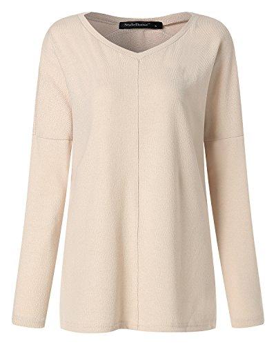 ACHIOOWA Donna Manica Lunga Maglietta Collo V Primavera Maglie Elegante Casual Bello Nuovo T-Shirt Top Beige