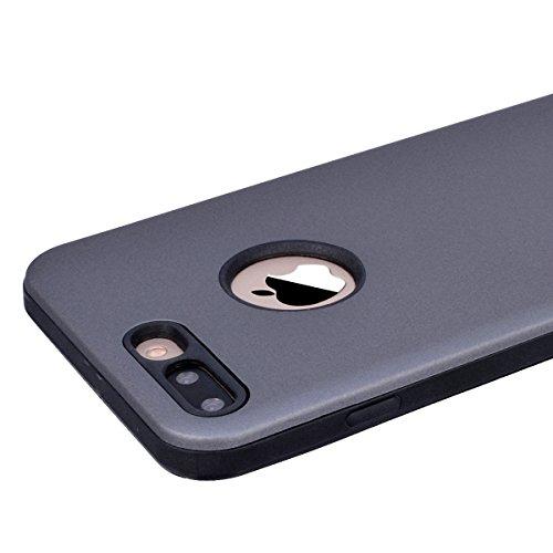 GrandEver iPhone 7 Hülle Weiche Silikon Handyhülle 2 in 1 TPU Bumper Schutzhülle für iPhone 7 Rückschale Klar Handytasche Anti-Kratzer Stoßdämpfung Ultra Slim Rückseite Silicon Backcover Soft Case Ult Grau