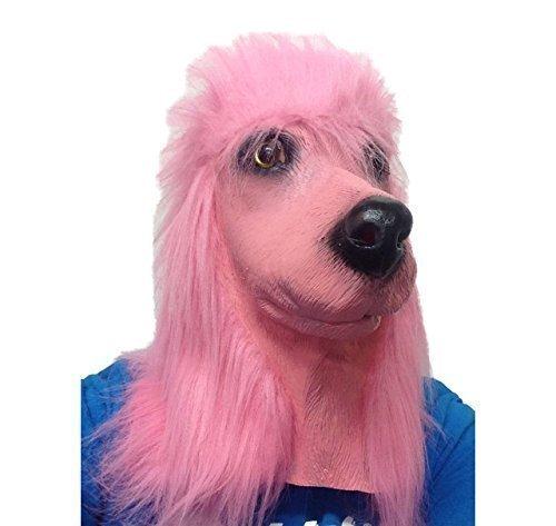 iß und Schwarz Latex Hohe Qualität Hund Verrücktes Kostüm Maske - Rosa Pudel (Rosa Pudel Kostüm)