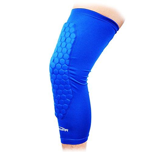 COOLOMG neue Honeycomb-Pad Crash Proof Basketball schutzausrüstungen Langes Bein Knie Sleeve xl blau