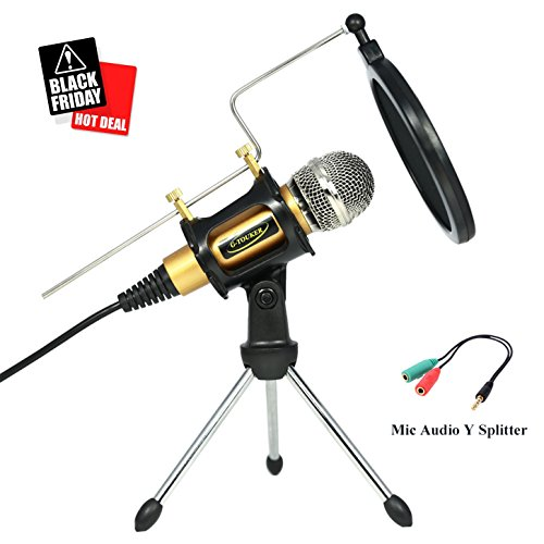 Professionelles Studio Recording Kondensator Mikrofon, iphone Mikrofon Set mit Stand & Shock Mount Aufnahmen f¨¹r YouTube, Skype, FaceTime, Vocals, Podcast - MC6G