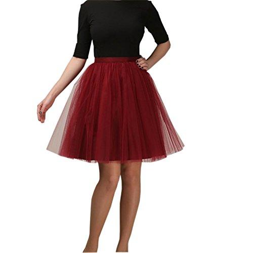 CoutureBridal® Femme Jupe Tutu 5 Couches Elastic Ceinture Princesse Tulle 55CM Rouge Vineux