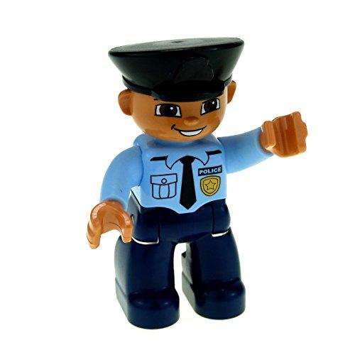 1 x Lego Duplo Figur Mann Uniform dunkel blau Hemd hell blau mit Krawatte mit Polizei Marke Mütze Hut schwarz Augen braun Polizist 47394pb141