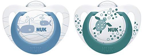 NUK Genius Color Silikon-Schnuller, kiefergerechte Form, 0-6 Monate, 2 Stück, blau & grün