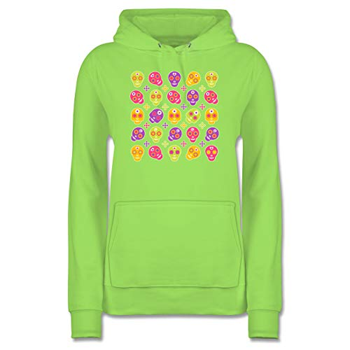 Shirtracer Rockabilly - Candy Skull - S - Limonengrün - JH001F - Damen Hoodie