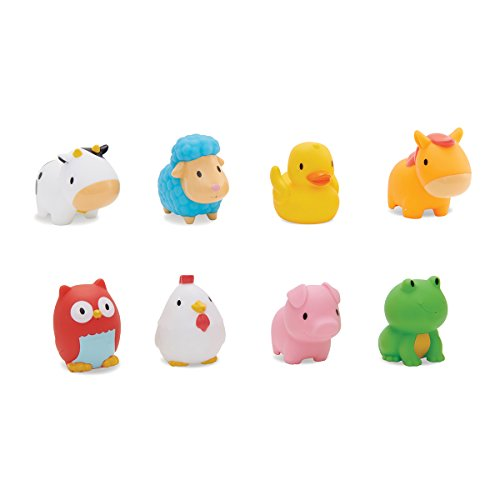 Includes 8 different water-squirting, floating barnyard animal friends;Fun way to teach animal names and sounds in the bath;Great for underwater bubbles and bath games;Helps baby develop fine motor skills;Bath Squirters come in a clear tube for easy ...