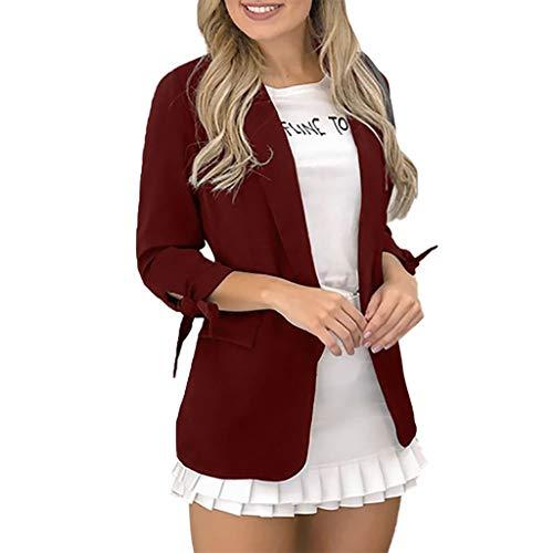 Kolila Damen Anzugjacke Einfarbig Revers Einzigartige Manschettengurte Design Langarm Oberbekleidung Blazer Mantel