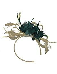 Crema marfil y azul Net Pelo Tocado de boda diadema de plumas de aro Royal Ascot Races