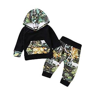 Heetey - Conjunto de Ropa y Abrigo para niña, de Manga Larga, Estampado de Flores, Sudadera con Capucha + Pantalones, Conjunto de Vestidos Estampados 2