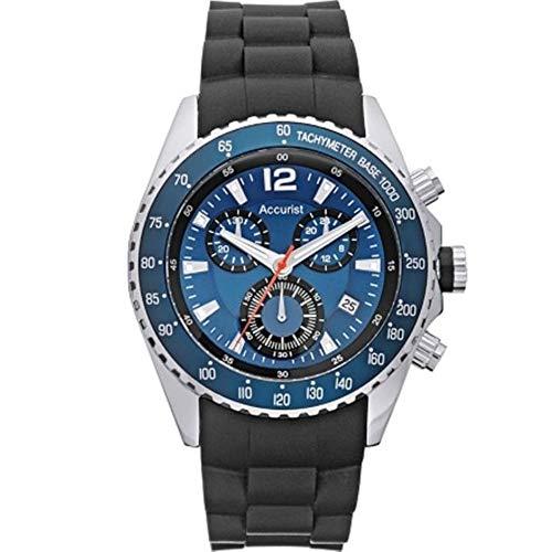 Accurist MS710N - Reloj de pulsera con cronógrafo para hombre - Mecanismo de cuarzo - Esfera analógica azul - Correa de silicona de color negro
