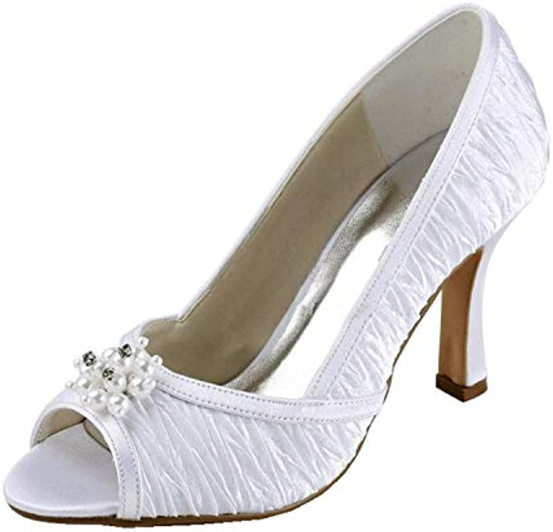 Qiusa Sandali da Sposa increspati da Donna (Coloreee   Ivory-9.5cm Heel, Dimensione   5 UK) | durabilità  | Uomo/Donne Scarpa