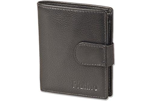 Platino - Portefeuille Super-compact avec XXL pochettes cartes de crédit pour les 18 cartes en cuir naturel avec du noir