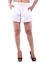 Goodwill Impex Women's Casual Wear White Cotton Short