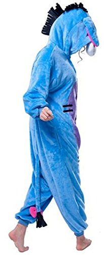 Pijama de invierno unisex tipo mono para adultos, pieza única de cálida franela, con diseño de Pikachu azul Burro S