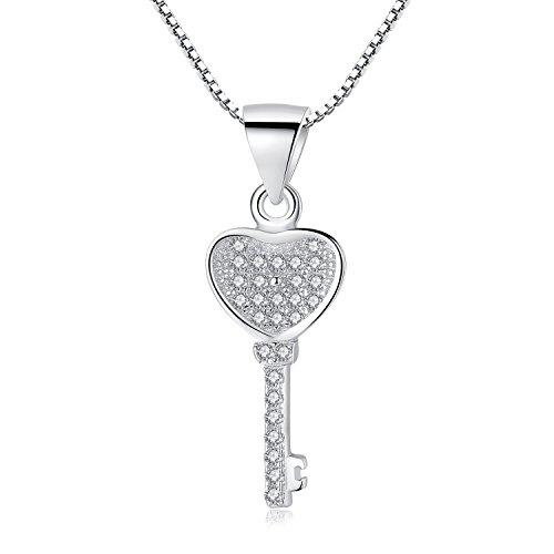 COAI Geschenkideen 925 Sterling Silber Halskette Damen-Charm Schlüssel Herz Anhänger und CZ für Damen und Mädchen