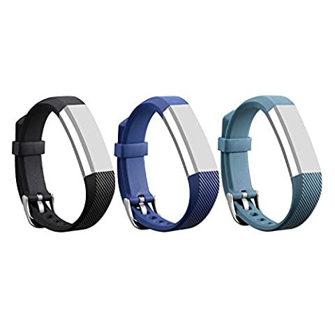 mtsugar. Bracelets en cuir de remplacement avec boucle de sécurité pour Fitbit Alta / Fitbit Alta HR (sans le traqueur, bracelets de remplacement uniquement), Black&Navy&Slate