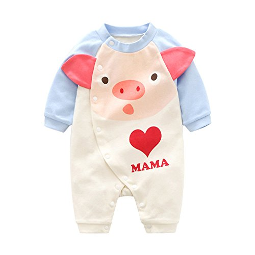 Ears Baby Girls Clothing Set Newborn Neugeborenes Baby JungenInfant Baby Mädchen Langarm Cartoon Schwein Liebe Print Strampler Overall Outfits Overall Cap Outfit Romper Outfits (59, Pink) Cotton Knit Romper