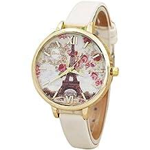 HARRYSTORE Moda de la Torre Eiffel Mujeres Cuero banda analógica movimiento de cuarzo reloj de pulsera (Beige)