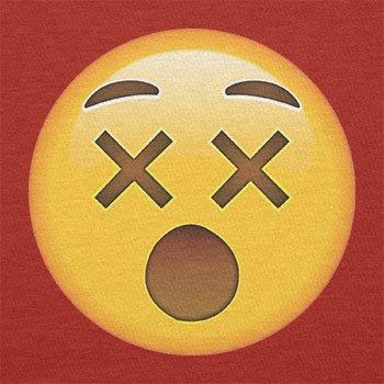 TEXLAB - Dizzy Face Emoji - Herren T-Shirt Rot