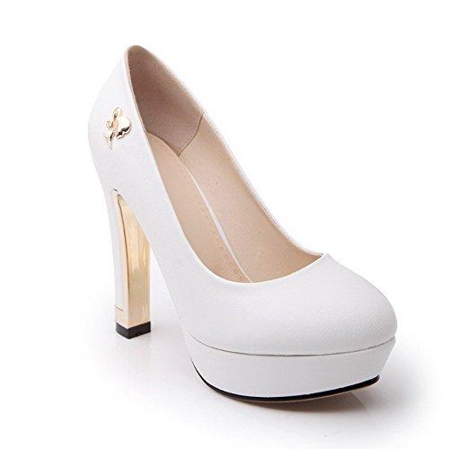 VogueZone009 Damen Pu Leder Hoher Absatz Schließen Zehe Rein Ziehen Auf Pumps Schuhe Weiß