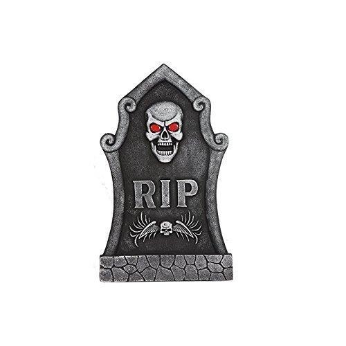 Dekorativer Grabstein Halloweendeko mit Totenkopf und blinkenden (Grabsteine Gotische)