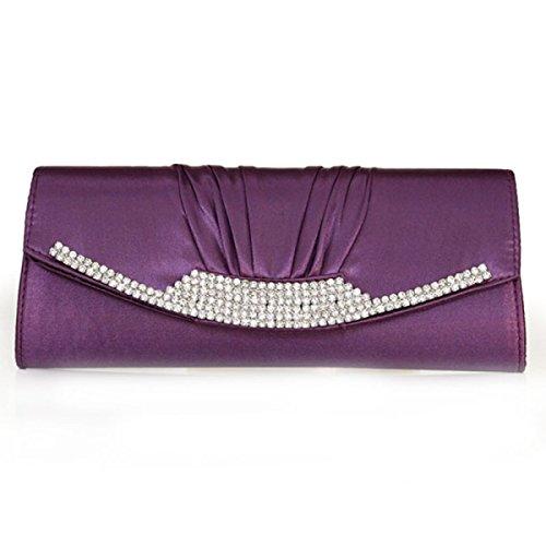 Abend Abendessen Hochzeit Tasche Beutel Purple Seide Tasche Damen Handgriffbeutel w4ZOq1Oz