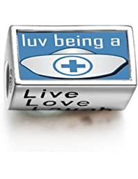 Love Being A Nurse Words Live Love Laugh Bead Charm Fit Pandora Chamilia Biagi beads Charms Bracelet