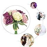 Biniwa Lot de 9 roses artificielles en soie, bouquet de mariage, romantique, couleur contrastée pour décoration de fête de mariage 4