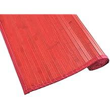 Tiendas Mi Casa - Alfombra de bambú KENIA (70x150 cm, Rojo). Disponible en varios tamaños y colores.