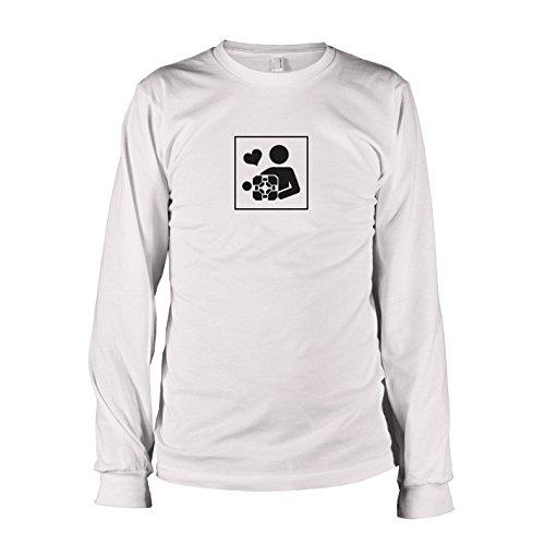Companion Kostüm Cube - TEXLAB - Cube Love - Langarm T-Shirt, Herren, Größe XL, weiß