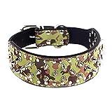 AiBarle Hundehalsband, Haustier Verstellbarer Rivet Spiked besetzt Echtleder Hundehalsband für Kleine oder mittlere (S, Camouflage)